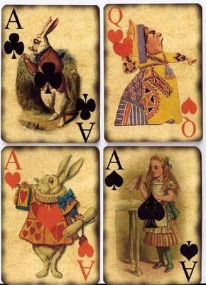 Alice in Wonderland playing cards - Vintage http://www.ebay.com/itm/Vintage-inspired-Alice-in-Wonderland-playing-cards-tags-ATC-altered-art-8-/140712007685?pt=LH_DefaultDomain_0&hash=item20c316d805%3Froken%3DYqDlA2