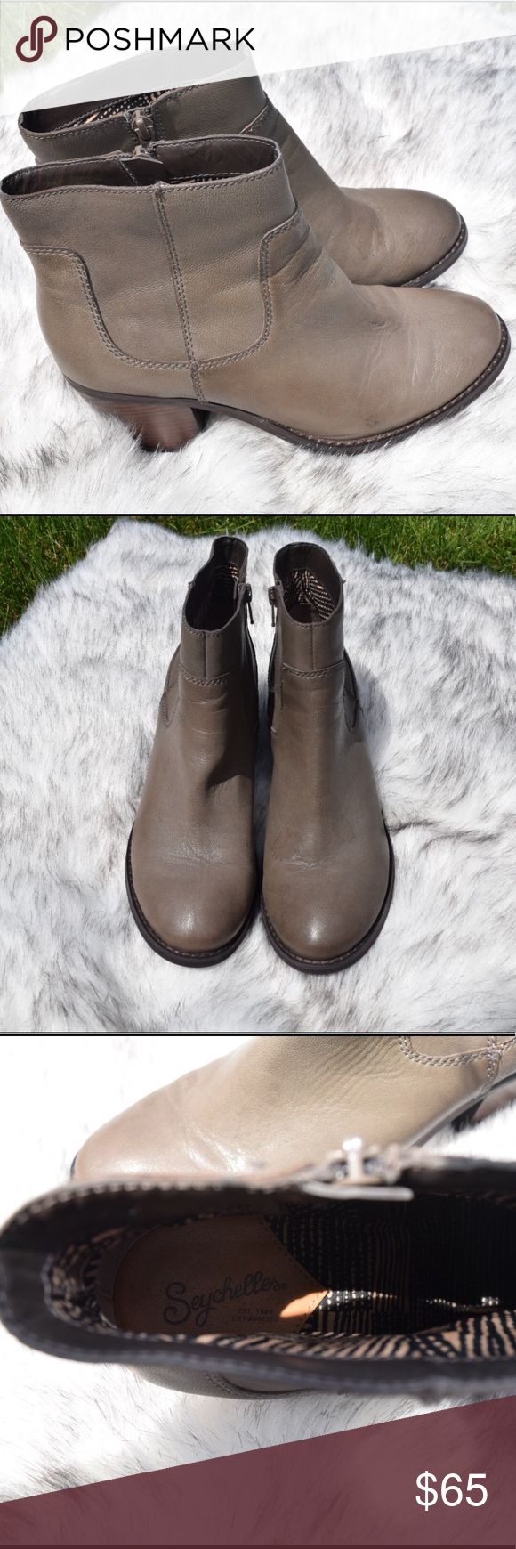 Grey Leather Seychelles Booties Only worn a few times! Grey Leather Seychelles Booties Seychelles Shoes Heeled Boots