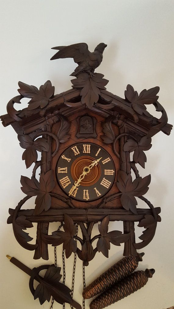 Very Rare and Unusual Antique Cuckoo Clock with Amazing Detail and Carvings  - One of a Kind - Leaves Vines Birds Motiff