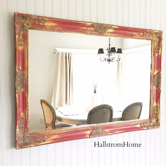 Extra Large Mirror Red Gold Shabby Mirror