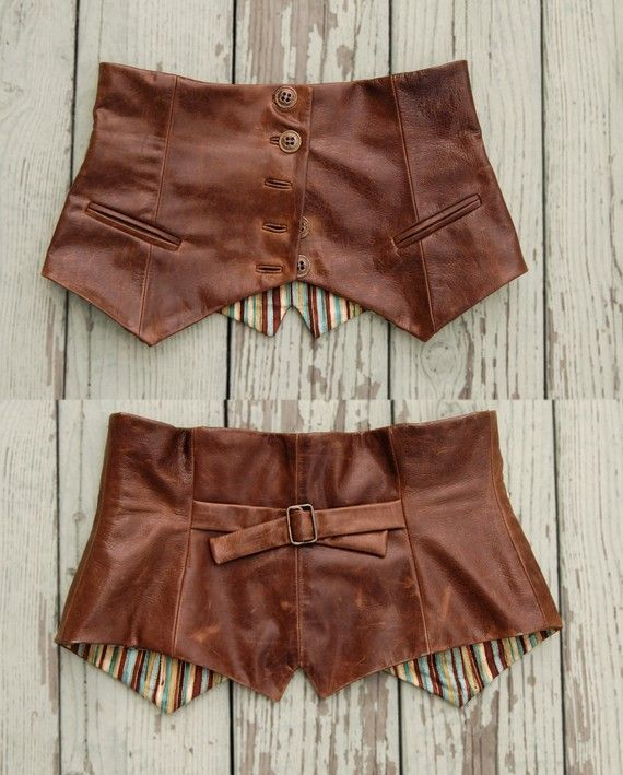 Author Gail Carriger turned a leather vest turned into a waist cincher. It might look divine over your corset! #steampunk