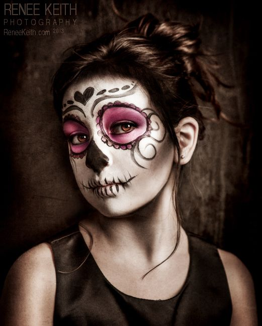 Little Girl Sugar Skull Makeup Photography Renee