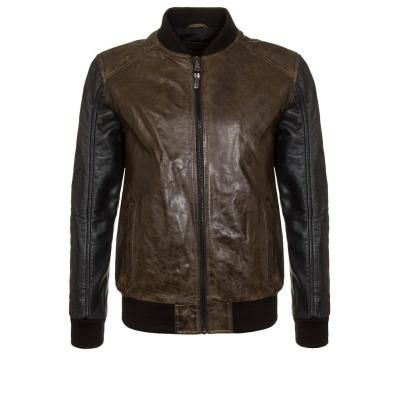 $446, Dark Brown Leather Bomber Jacket: Korintage Cute Leather Jacket Brown. Sold by Zalando. Click for more info: https://lookastic.com/men/shop_items/169794/redirect