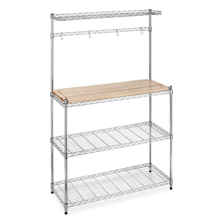 Keep your kitchen organized and everything in its place with this Modern Bakers Rack in Chrome Steel with Removable Wood Cutting Board. This rack is perfect for storing your pots and pans as well as y