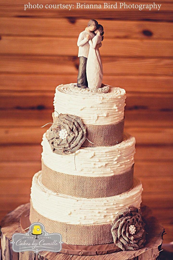 Burlap wedding cake, handmade burlap ruffle flower with pearl center, on textured buttercream cake, willow tree angel topper