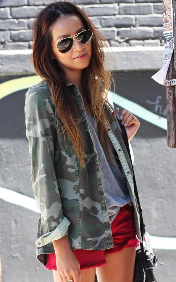 love the look! Accent your camo jacket with bright shorts!