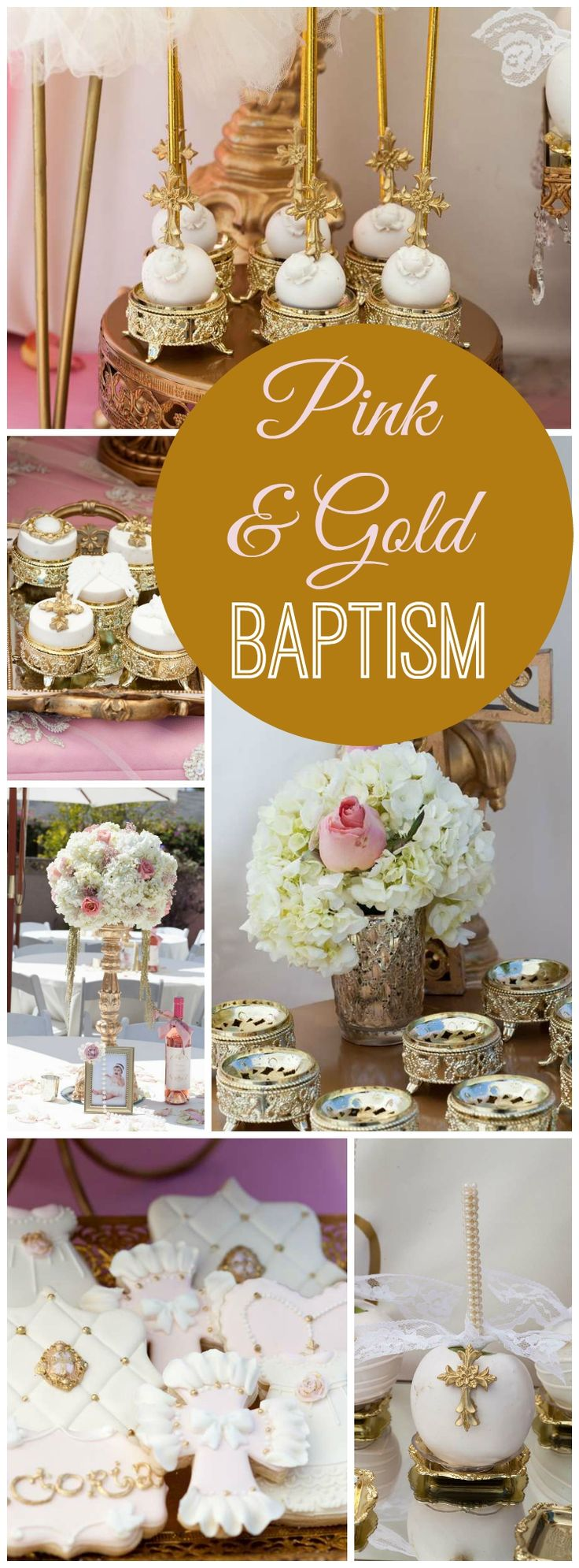 Such an elegant pink and gold baptism party! See more party ideas at CatchMyParty.com!