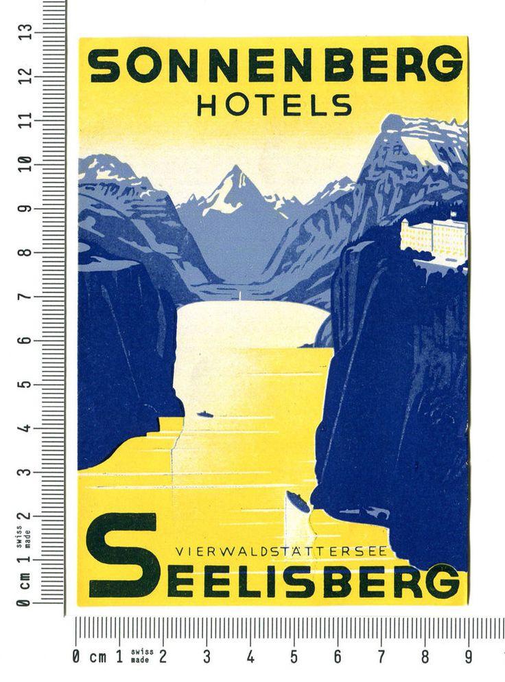 Kofferaufkleber Sonnenberg hotels Seelisberg SWISS VERY RARE luggage label