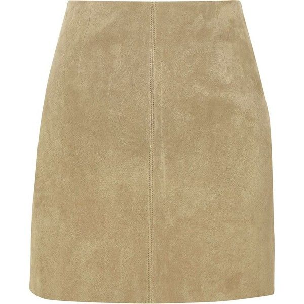 River Island Sand brown suede A line skirt (325 PEN) ❤ liked on Polyvore featuring skirts, mini skirts, sand, women, high waisted suede skirt, suede skirt, brown mini skirt, brown a line skirt and tall skirts
