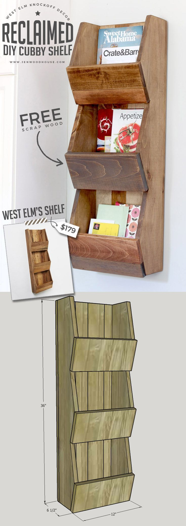 LOVE THIS! Tutorial on how to build a DIY West Elm knockoff cubby shelf. Build it out of scrap wood! #DIY #WestElm #WestElmKnockoffs #woodworking, #shelf #cubby