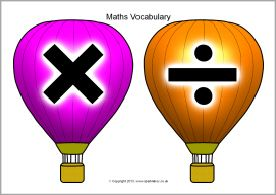 Balloons and clouds maths vocabulary display set (SB9845) - SparkleBox