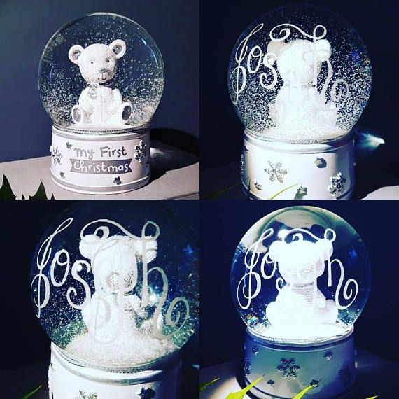 Check out this item in my Etsy shop https://www.etsy.com/uk/listing/564801059/personalised-snow-globe-first-christmas