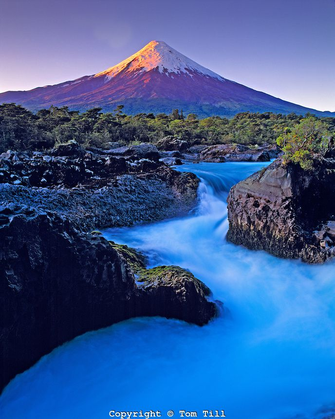 Osorno Volcano, Petrohue Falls, Vicente Perez Rosales National Park, Chile, South America