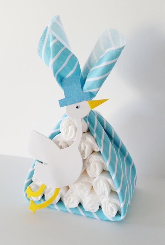 Storch Bundle Baby-Dusche-Geschenk, Storch Herzstück, Storch Baby-Dusche-Dekor, Baby Boy Geschenk