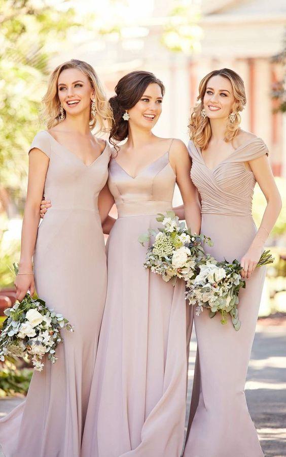 6f756201a0278 Neutral Pink Long Chiffon Bridesmaid Dress #weddinginspiration  #bridesmaidsdress #pinkwedding
