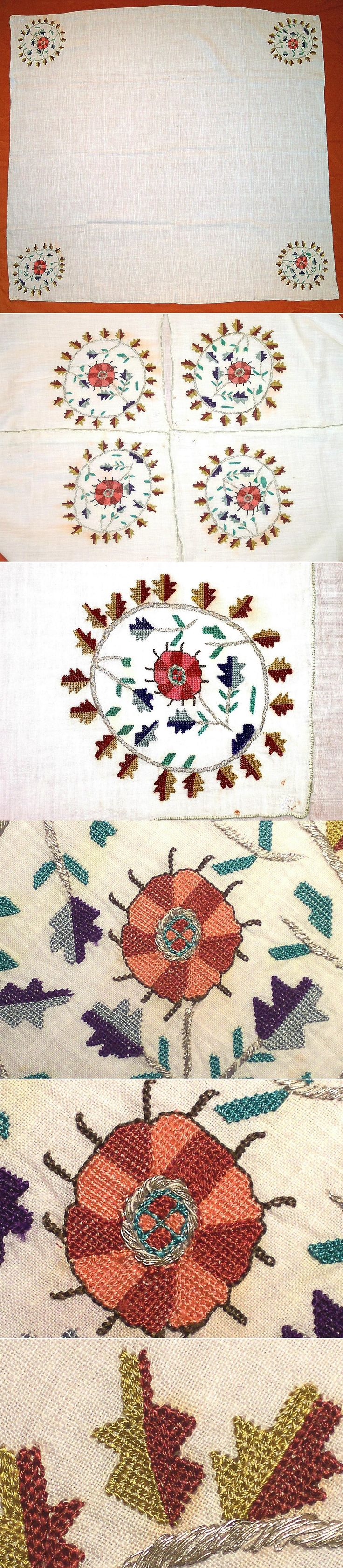 A 'çevre' (square kerchief; a decorative accessory, for the interior, but also used in costumes by both men and women).  From the Bursa province, 1900-1950.  'Two-sided' embroidery with polychrome silk and metallic (silver) threads on cotton (identical on both sides).  Stylized leaf and flower motifs, netted stitch technique.  (Kavak Collection of Anatolian Textiles -Antwerpen/Belgium).
