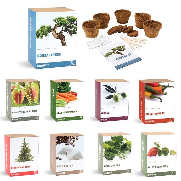Een leuk cadeautje voor iemand die graag zelf aan de slag is zijn deze grow it - zelf planten kweken setjes. #diy #plantjes