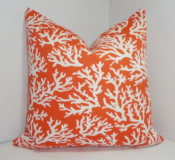 Plein air Mandarin corail imprimé couverture porche corail nautique Coussin housse de coussin 18 x 18