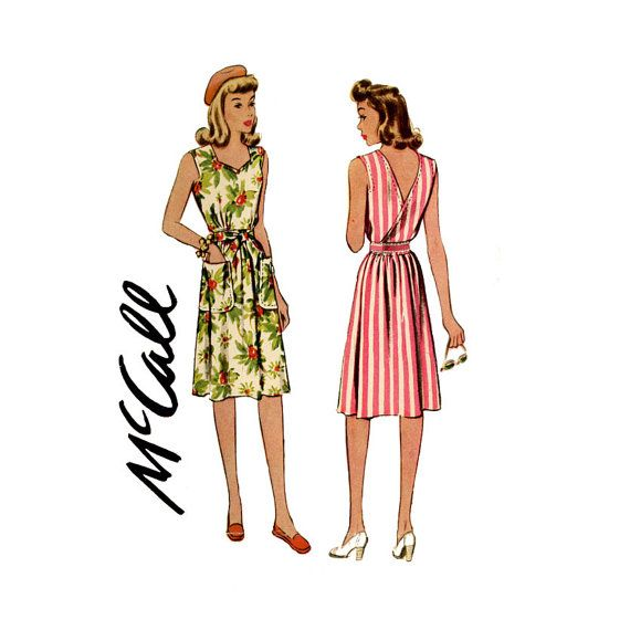 1940s Back Wrap Sundress Pattern McCall 5136 Bust by CynicalGirl, $32.00