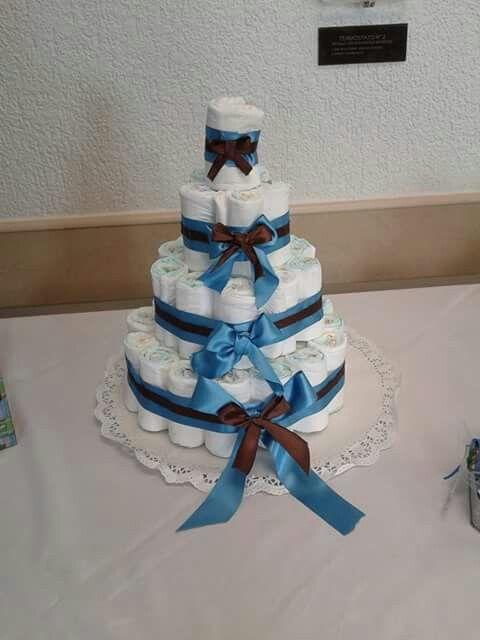 Torta de pañales idea para baby shower!