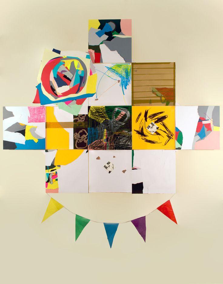 El descubrimiento del reconocimiento· Cartulina, papel fotografico, cinta adhesiva, plastidecor, tela sintetica· 131,50x164 cm