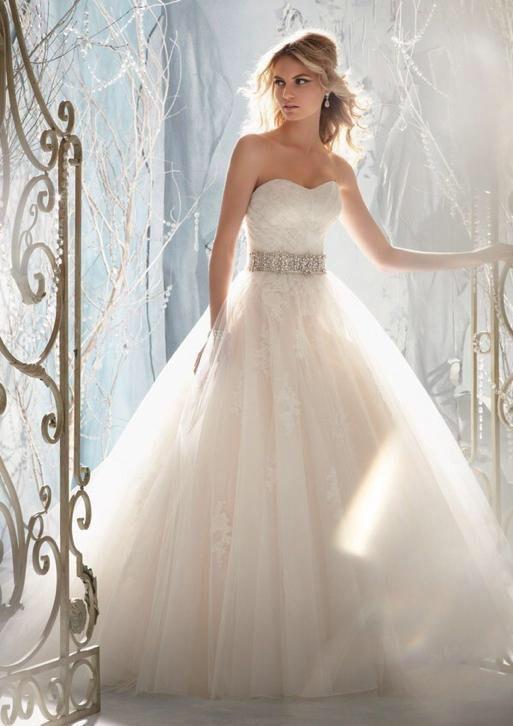 Trouwjurk romantische prinsessen jurk met afneembare mouwen