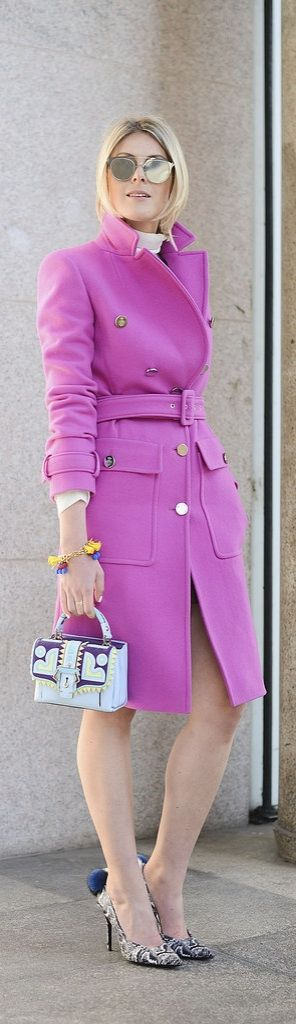 Milan Fashion Week street style: Sofie Valkiers wearing a pink Emilio Pucci coat