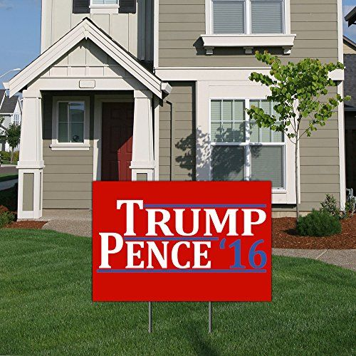 Trump Pence for President 2016 Political Yard Sign with Ground Stake by BuildASign  Red 18 x 24 * Want to know more, click on the image.