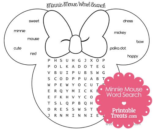 Printable Minnie Mouse Word Search from PrintableTreats.com   Minnie Mouse Party Printables ...