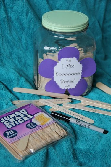 Our I'm Board jar: 150 ideas for creatively squelching your child's summer boredom whining.