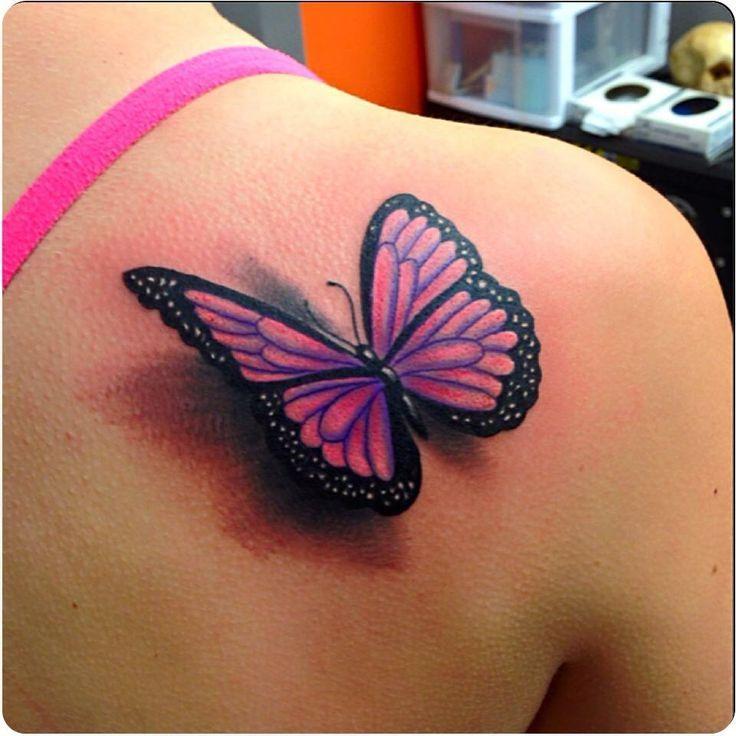 lovely pink and black 3d butterfly tattoo on back shoulder. Black Bedroom Furniture Sets. Home Design Ideas