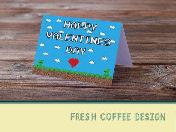 Geek Valentine Day Card by FRESHCOFFEEDESIGN on Etsy