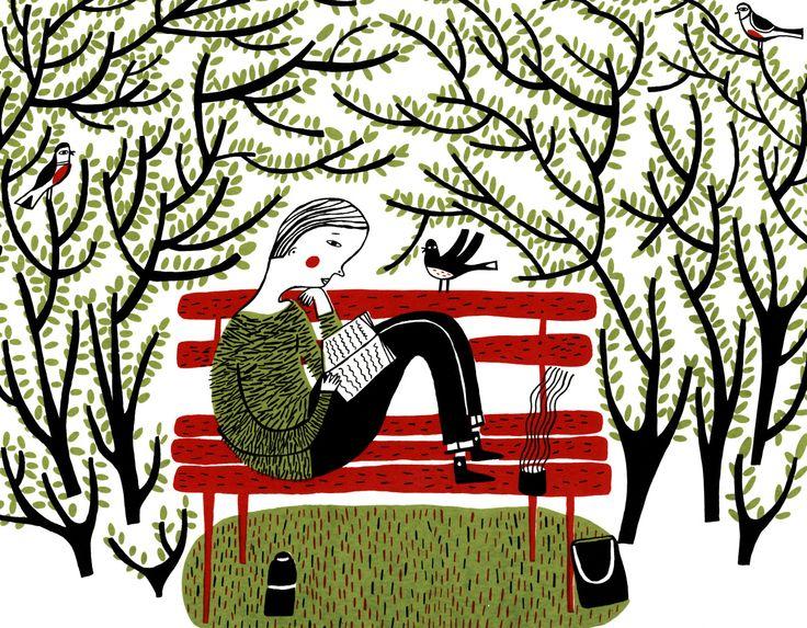 bibliolectors: Leyendo en el parque: es primavera (ilustración de Mina Braun)