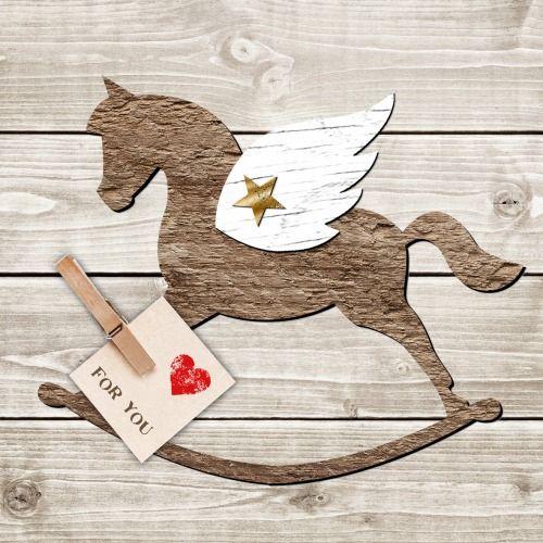 """1 Serviette en papier Cheval à Bascule ailé - Bois - """"For you"""" : Serviettage, Décopatch par boutique-creative-by-c-dona"""