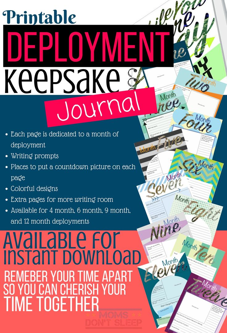 Deployment Tip: Keep a journal to document the journey of deployment while your loved one is away. Contains writing prompts, places for countdown pictures, and more. Available for instant download!