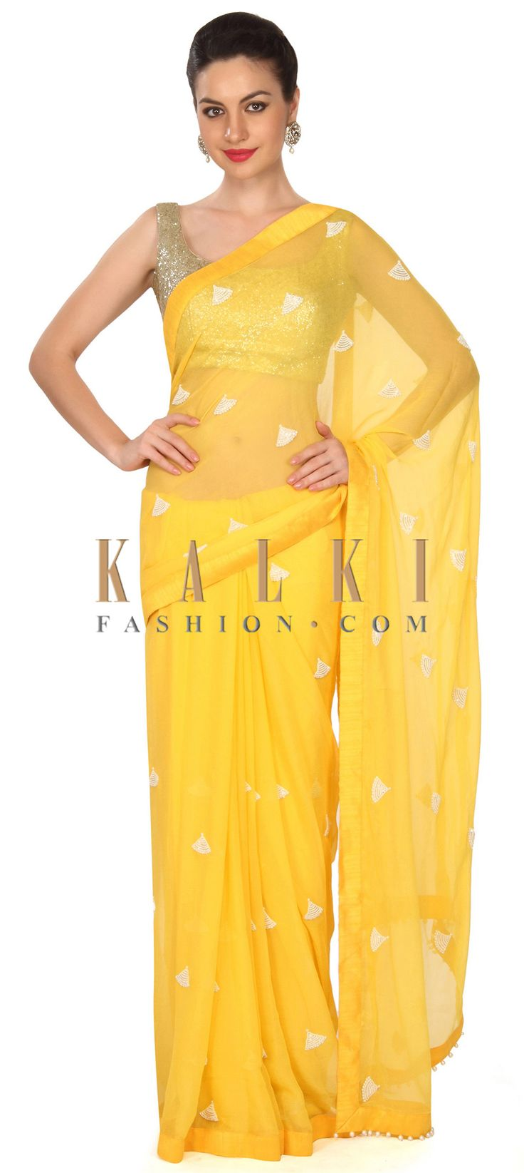 Buy this Yellow saree in white embroidered butti only on Kalki