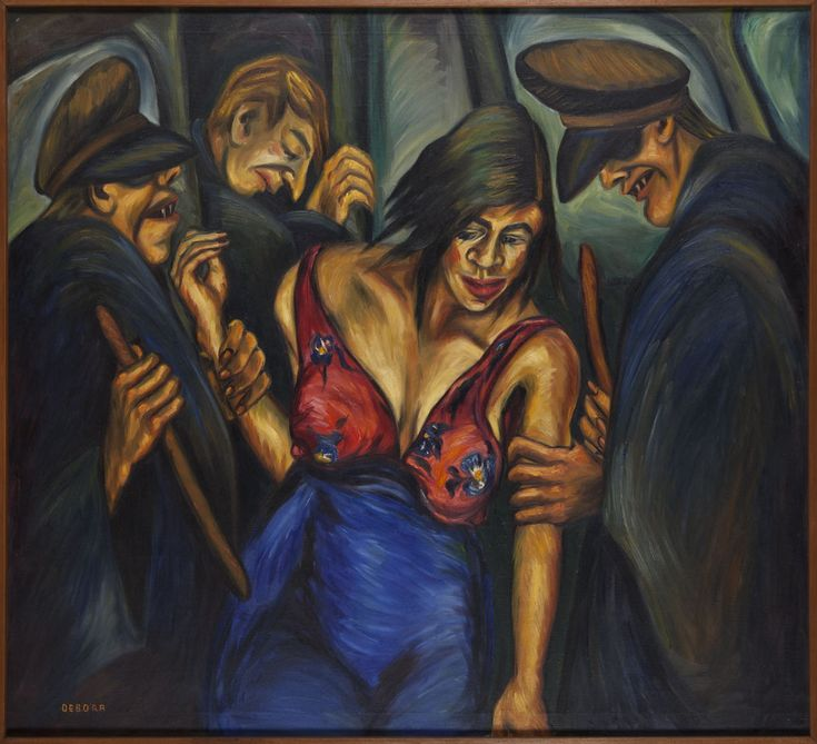 """Justicia. DÉBORA ARANGO (1907-2005). Pintora colombiana. La """"Justicia"""", maltratando a una prostituta, con un tercer hombre que """"se hace el distraído"""". Los bastones de los policías resultan, además de elementos violentos, símbolos fálicos que acusan también al machismo y a la violencia de género. https://www.facebook.com/3minutosdearte/posts/1823061334611962:0"""