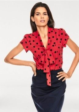 Puntíkovaná halenka s vázačkou, ASHLEY BROOKE, Heine #avendro #avendrocz #avendro_cz  #fashion #discount #blouse