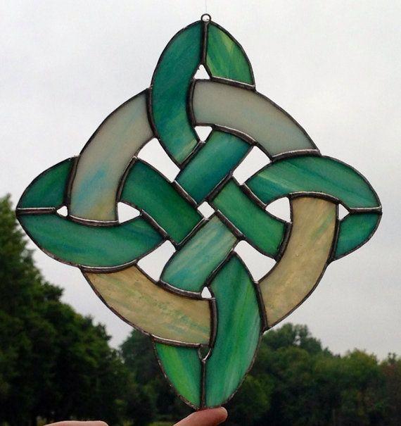 Celtic diamond knot stained glass sun catcher