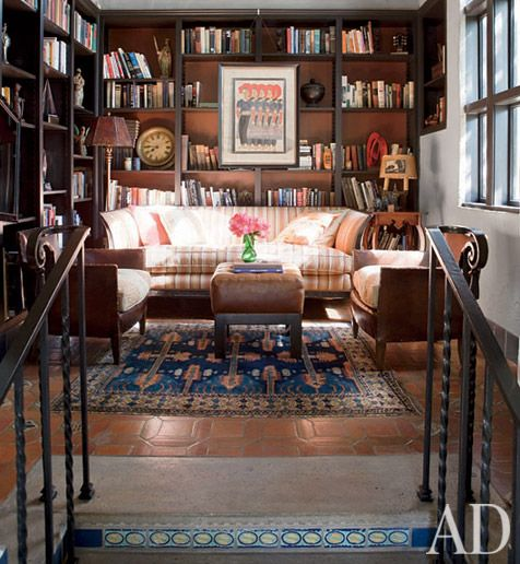 a little earthy for me, but a lot to like, arrangement, bookcases, rug, framed picture on bookcase