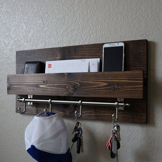 Modern Rustic Entryway Mail Key Organizer by KeoDecor on Etsy