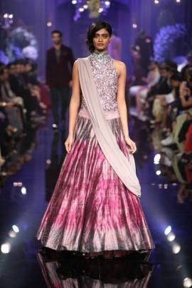 Sangeet Lehengas - Lavender and Pink Lehenga   WedMeGood Lavender High Neck Glitter Gown with Pink, Purple Shaded Tie and Die Lehenga and Lavender Dupatta #wedmegood #lavender #tiedie #lehenga