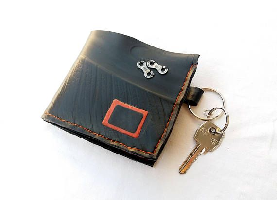 Cyclist inner tube handmade wallet  / recycled wallet with key