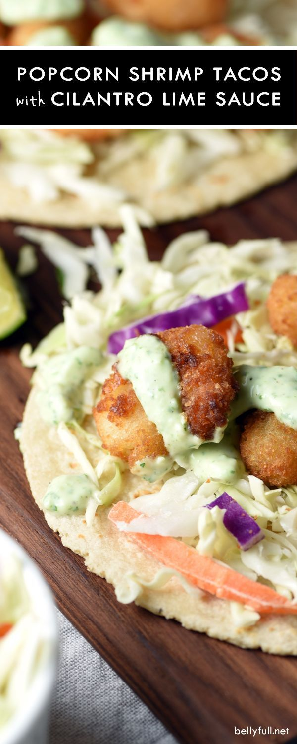 These Popcorn Shrimp Tacos with Cilantro Lime Sauce are so delicious and a lifesaver for busy weeknights! #ad @SeaPak