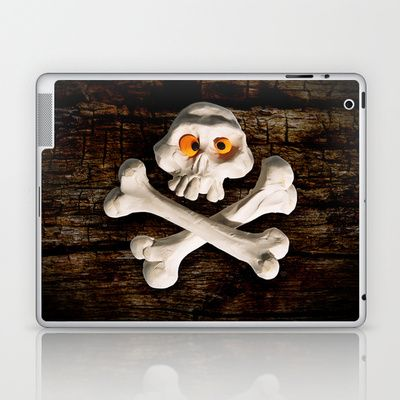 Mr. Skull Laptop & iPad Skin by Martin Misik - $25.00 // #ipad #tablet #case #art #society6 #skull #wood #skeleton #plasticine #clay #sculpting #funny #bones #yellow #eye