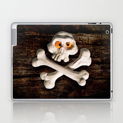 Mr. Skull Laptop & iPad Skin by Martin Misik - $25.00 // #ipad #tablet #case #art #society6 #skull #wood #skeleton #plasticine #clay #sculpting #funny #bones #yellow #eye