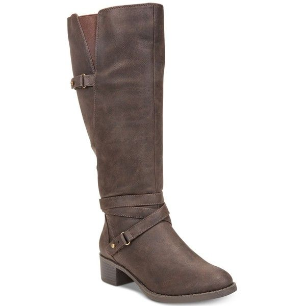 Easy Street Carlita Wide-Calf Riding Boots ($63) ❤ liked on Polyvore featuring shoes, boots, brown, equestrian boots, wide calf equestrian boots, stretch riding boots, side zipper boots and riding boots