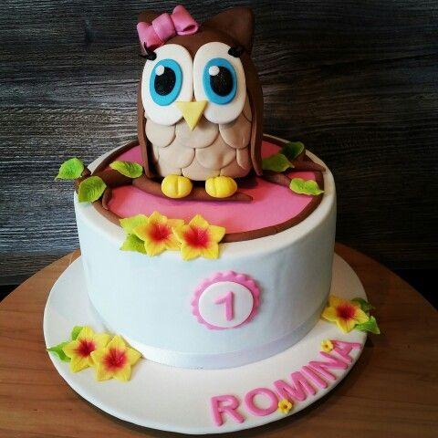 First Birthday Cake  #firstbirthdaycake#fondant#Owl#owlcake