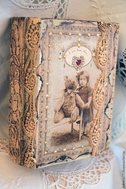"""Шкатулки ручной работы. Ярмарка Мастеров - ручная работа. Купить Шкатулка-книга"""" Старенький мишка"""". Handmade. Бежевый, барельеф, акрил"""