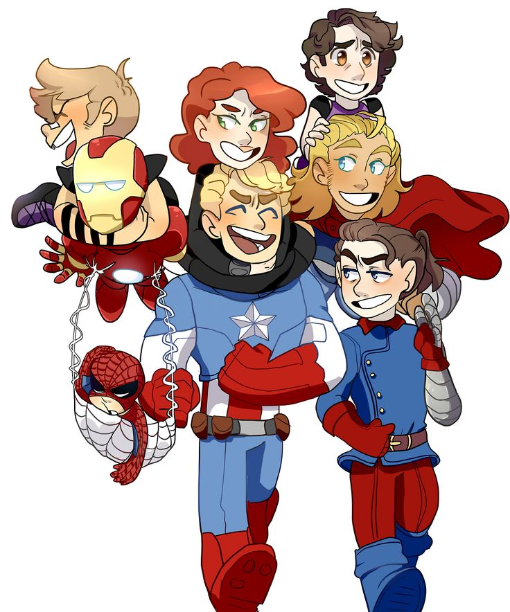 The Avengers with Bucky ~ I adore Bucky's outfit and ponytail here!  ^_^ It is just too perfect!<3